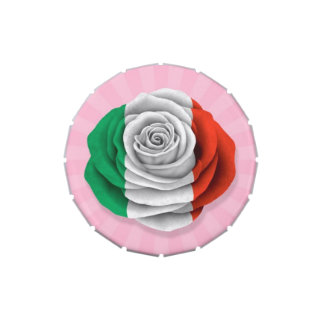 Italian Rose Flag on Pink Candy Tin