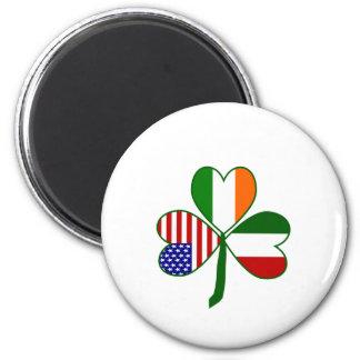 Italian Shamrock 2 Inch Round Magnet