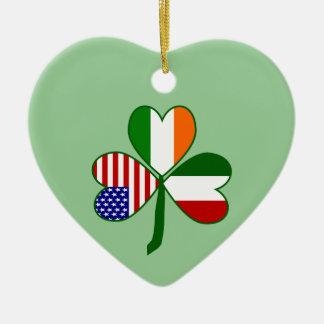 Italian Shamrock Green Background Ceramic Ornament