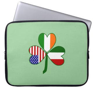 Italian Shamrock Green Background Laptop Computer Sleeves