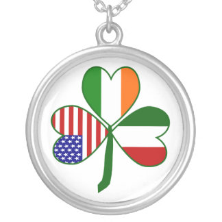 Italian Shamrock Silver Plated Necklace