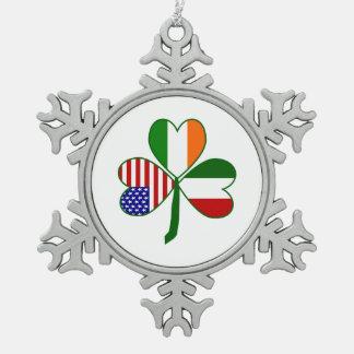 Italian Shamrock Snowflake Pewter Christmas Ornament