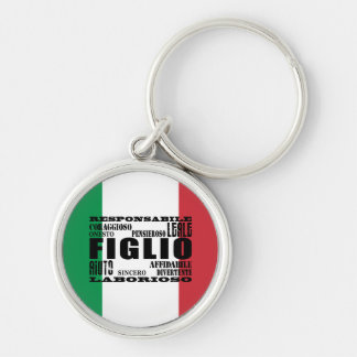 Italian Sons : Qualities Silver-Colored Round Keychain