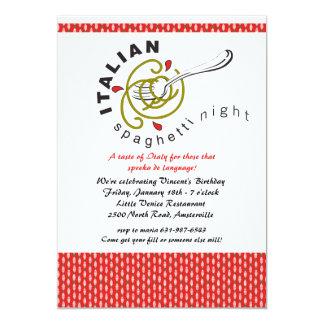 "Italian Spaghetti Invitation 5"" X 7"" Invitation Card"