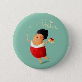 Italian Spaghetti Lady Pinback Button