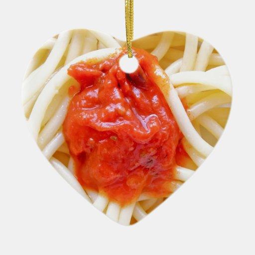 Italian Spaghetti Pasta With Tomato Sausage Top Ornament