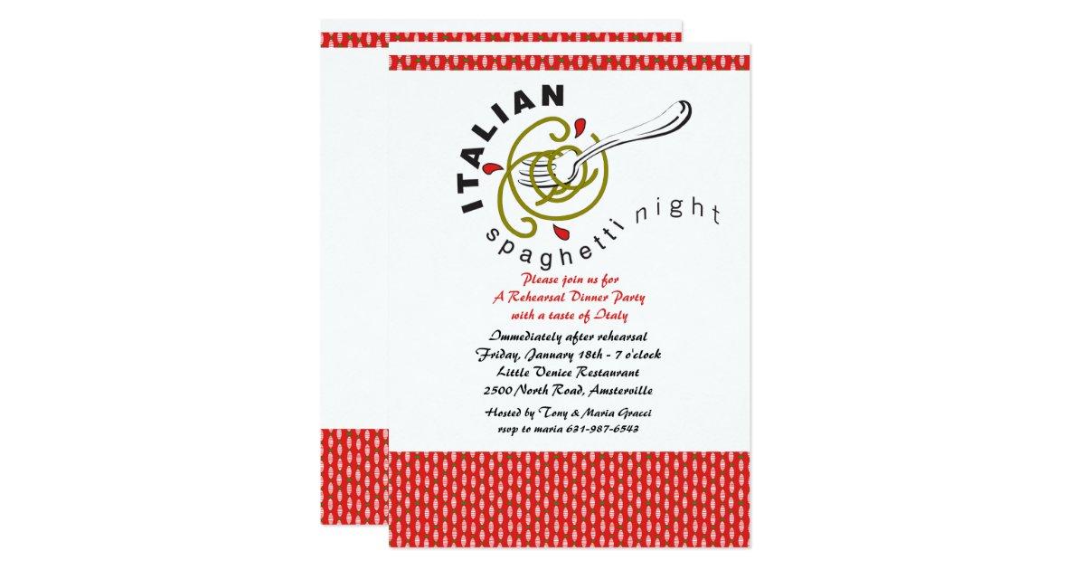 italian spaghetti rehearsal dinner invitation zazzle