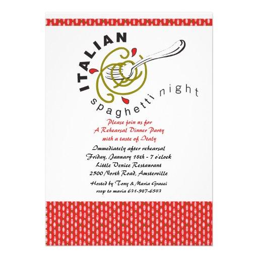 italian spaghetti rehearsal dinner invitation 5 x 7 invitation card zazzle