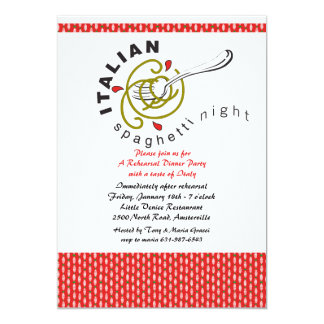 Italian Spaghetti Rehearsal Dinner Invitation