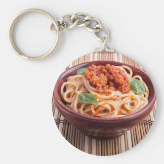 Italian spaghetti with tomato relish and basil keychain