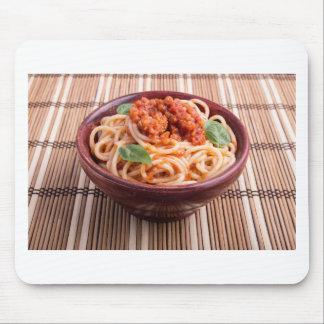 Italian spaghetti with tomato relish and basil mouse pad