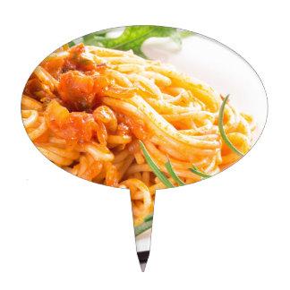 Italian spaghetti with vegetable sauce closeup cake topper