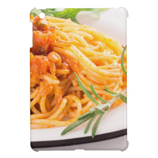 Italian spaghetti with vegetable sauce closeup cover for the iPad mini