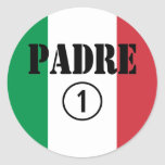 Italian Speaking Fathers & Dads : Padre Numero Uno Round Stickers