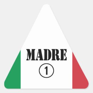 Italian Speaking Mothers & Moms : Madre Numero Uno Triangle Sticker