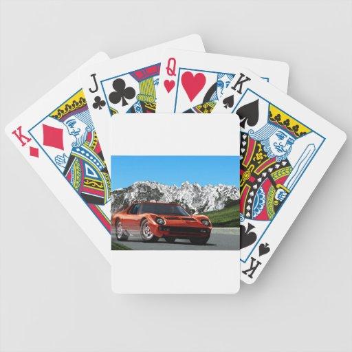 Italian sports car mountain drive poker cards