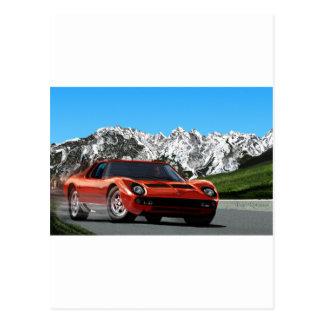 Italian sports car mountain drive postcard