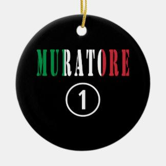 Italian Stonemasons : Muratore Numero Uno Double-Sided Ceramic Round Christmas Ornament