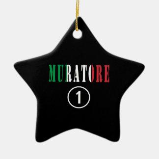 Italian Stonemasons : Muratore Numero Uno Double-Sided Star Ceramic Christmas Ornament