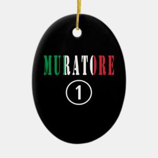 Italian Stonemasons : Muratore Numero Uno Double-Sided Oval Ceramic Christmas Ornament