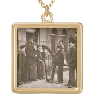 Italian Street Musicians, from 'Street Life in Lon Square Pendant Necklace