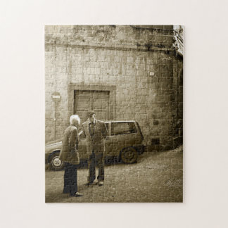 Italian street scene in sepia jigsaw puzzle