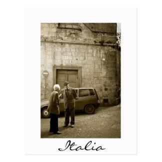 Italian street scene in sepia postcard border