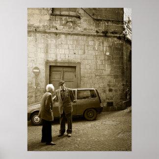 Italian street scene in sepia poster print