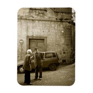 Italian street scene in sepia rectangular magnet