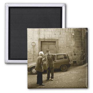 Italian street scene in sepia square magnet