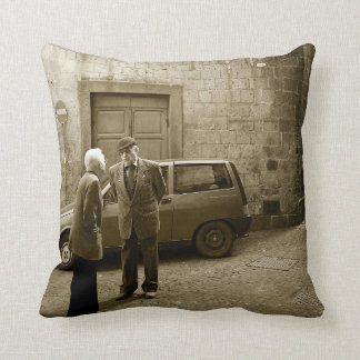 Italian street scene in sepia square throw pillow