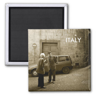 Italian street scene square magnet with text Italy