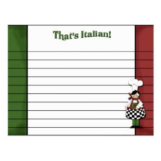 Italian Styled Recipe Card Post Card