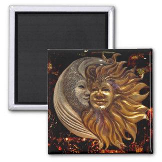 Italian Sun & Moon Carnaval Masks 2 Inch Square Magnet