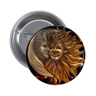 Italian Sun & Moon Carnaval Masks Button