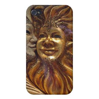 Italian Sun & Moon Carnaval Masks Covers For iPhone 4