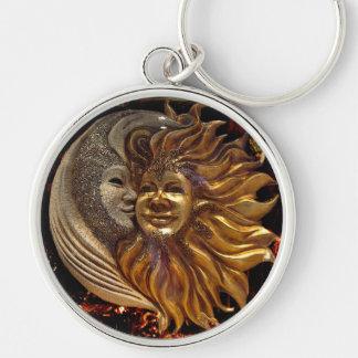 Italian Sun & Moon Carnaval Masks Keychain