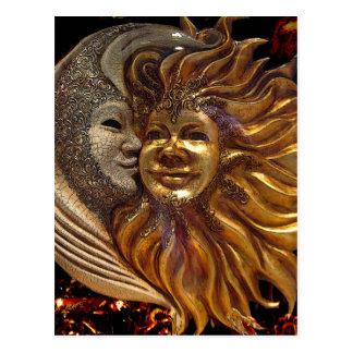 Italian Sun & Moon Carnaval Masks Postcard