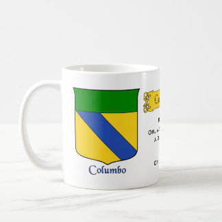 Italian Surname Columbo Heraldic Shield and Blazon Coffee Mug