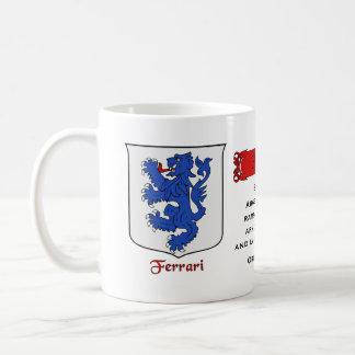 Italian Surname Ferrari Heraldic Shield and Blazon Coffee Mug