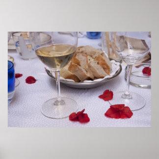 Italian Table: Bread, Wine and Bougainvillea Petal Poster