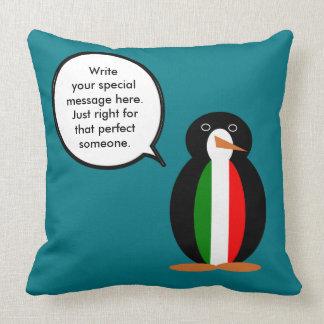 Italian Talking Penguin Flag Throw Pillow