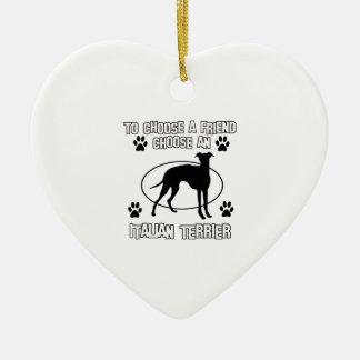 ITALIAN TERRIER DOG designs Double-Sided Heart Ceramic Christmas Ornament