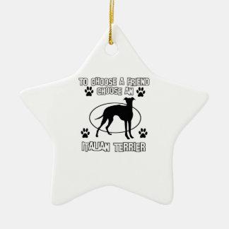 ITALIAN TERRIER DOG designs Double-Sided Star Ceramic Christmas Ornament