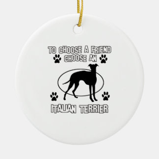 ITALIAN TERRIER DOG designs Double-Sided Ceramic Round Christmas Ornament