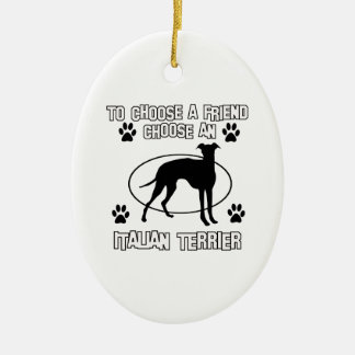 ITALIAN TERRIER DOG designs Double-Sided Oval Ceramic Christmas Ornament