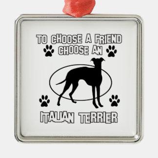 ITALIAN TERRIER DOG designs Square Metal Christmas Ornament