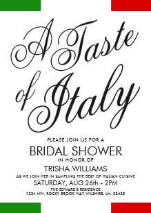 italian themed dinner bridal shower invite