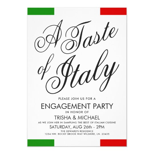 italian themed dinner engagement party invite zazzle com