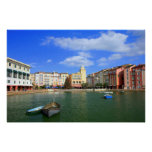 Italian Themed Hotel and Lake Poster